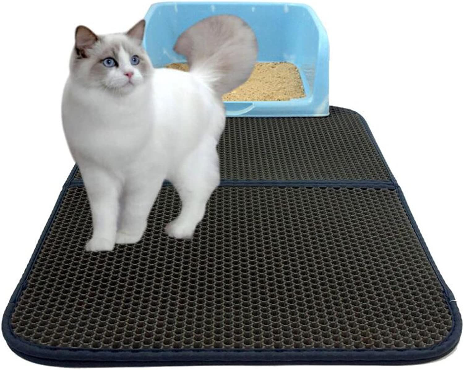 Cat Litter Mat Honeycomb DoubleLayer Waterproof Urine Proof Mat Easy Clean and Floor Carpet Predection Large Size 30Inx22in