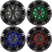"""2- Pair (4-Speakers) with Multi Color LED Lights Kicker 6.5"""" 195W Marine Audio Coaxial Stereo, Charcoal Grills"""