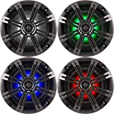 2- Pair (4-Speakers) with Multi Color LED Lights Kicker 6.5' 195W Marine Audio Coaxial Stereo, Charcoal Grills