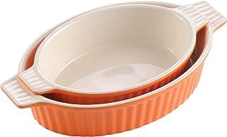 "MALACASA Bakeware Set, Ceramic Baking Dishes for Casseroles, Orange Oval Lasagna Pans (9.5""/11.25"") for Cooking, Casserole..."