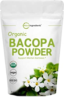 Organic Bacopa Monnieri Powder, 8 Ounce, Pure Bacopa Supplement, Ayurvedic Herb to Enhance Cognitive and Brain Health, Non...