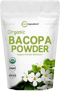 Organic Bacopa Monnieri Powder, 8 Ounce, Ayurvedic Herb to Enhance Cognitive and Brain Health, Non-GMO and Vegan Friendly