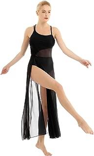 Women Camisole Lyrical Ballet Dance Dress Leotard Costume with Mesh Panel