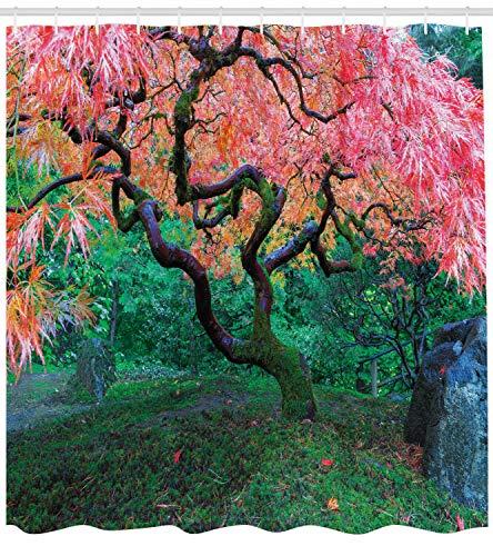 taquxinlaowan Baum-Duschvorhang-Rotblatt-Ahorn im Garten-Druck für Badezimmer