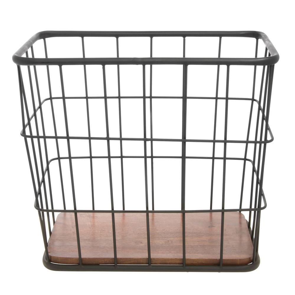 Courier shipping free Hubert Rectangular Black Iron Free shipping / New and Wood Mango Brown Display Baske