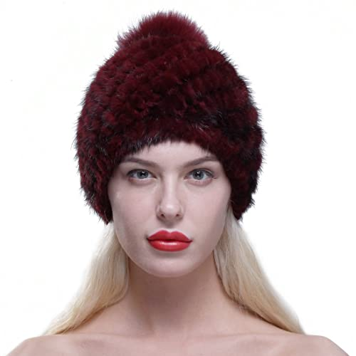 eae67f094ac7b URSFUR Women Winter Hat Knit Mink Fur Beanie Cap with Fox Pom Pom Multicolor