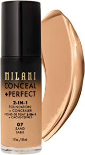 Milani Conceal + Perfect 2-in-1 Foundation + Concealer - Sand (1 Fl. Oz.) Cruelty-Free Liquid Foundation - Cover Under-Eye...