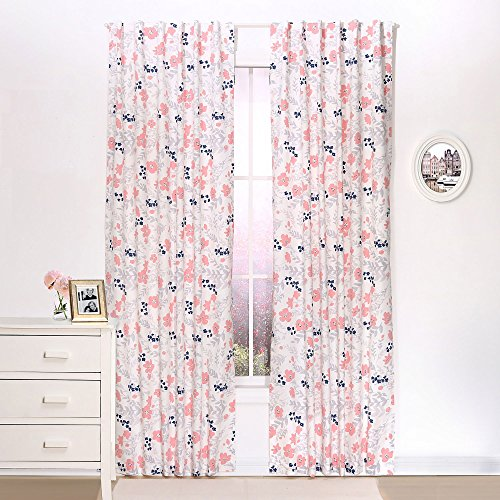 Coral and Navy Floral Window Drapery Panels - Set of Two 84 by 42 Inch Panels