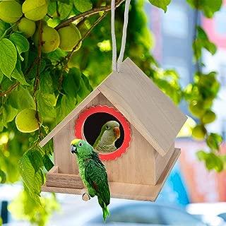 kathson Bird House, Natural Cedar Bird Hut, Crafts for Kids, Outdoors Hanging Garden Patio Decoration, Suitable for Dove, Parakeet, Hummingbird, Wren and Other Finches