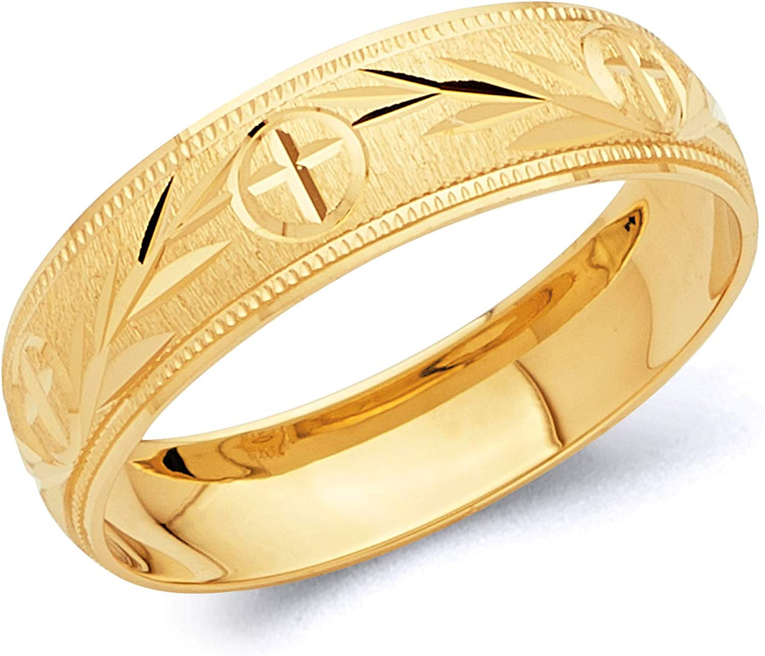 Wellingsale Mens Directly managed store Financial sales sale Solid 14k Yellow Wedd Diamond Gold Polished Cut