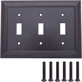 AmazonBasics Triple Toggle Light Switch Wall Plate, Oil Rubbed Bronze, 1-Pack