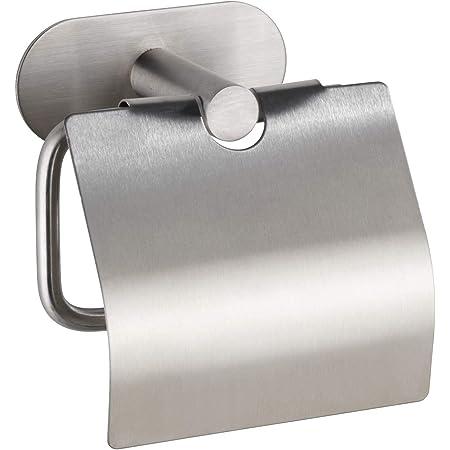 WENKO Dérouleur de papier hygiénique Turbo-Loc avec couvercle Orea Mat, fixation sans percer de trous, porte-rouleaux de papier avec couvercle pour la protection, inox mat, 14 x 12,5 x 7 cm