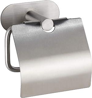 WENKO Dérouleur de papier hygiénique Turbo-Loc avec couvercle Orea Mat, fixation sans percer de trous, porte-rouleaux de p...