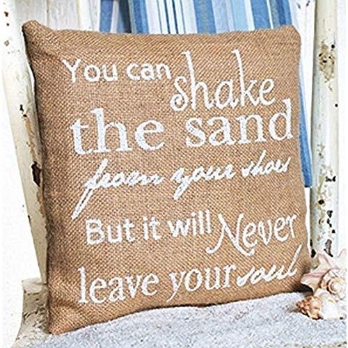 hose233 Je kunt het zand van je schoenen schudden, maar het zal nooit je ziel verlaten - Burlap Accent Kussen - 10-In X 10-In 16x16