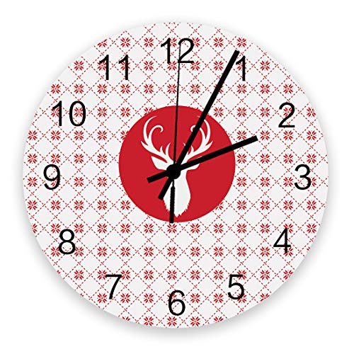 Christmas Wall Clock Vintage Round Silent Non Ticking Battery Operated Accurate Arabic Numerals Design Home Decorative for Kitchen Living Room Bedroom Office Reindeer Head Silhouette Lattice Backdrop
