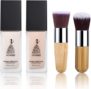 2 Liquid Foundation (Natural and Fair) with 2 Brushes Makeup Kit, Full Coverage Flawless Moisturizing Oil Free Base Prime Concealer Cream