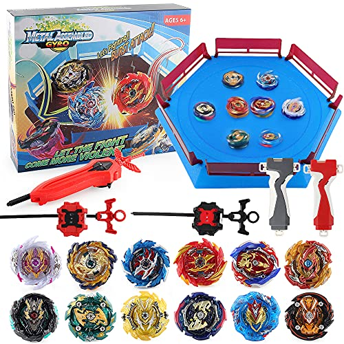 JIMI Bey Battling Top Stadium Blade Battle Set, 12 Burst Spinning Tops 3 Launchers Grip 1 Arena Combat Game, Toy Gift for Kids Boys Ages 6+