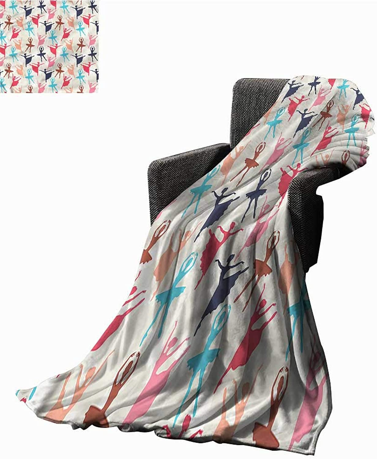 RenteriaDecor Warm Blanket Art,Dancing Ballerina Silhouettes Blanket for Bed Couch W70 x L50 inch