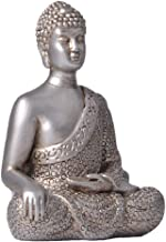 Flameer Buddha Meditating Small Statue Decorative Talisman Figurine Eastern Enlightenment - Silver