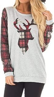 Spadehill Christmas Women's Plaid Reindeer Long Sleeve Sweatshirt