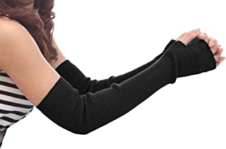 NOVAWO Women's Premium 100% Wool Arm Warmers Fingerless Gloves with Thumb Hole