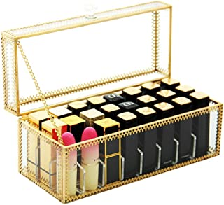 Premium Glass Makeup Organizer Gold Style Metal Lace Lip Gloss Organiser | 24 Space Organization Storage for Lip Gloss/Lipstick Products - Clear