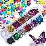 Kalolary 12 Colori Farfalla Glitter Unghie, glitter per unghie nail art Punte del manicure delle decorazioni DIY Decalcomanie decorazione per viso corpo occhi