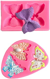 Bow Silicone Fondant Mold Butterfly Shape Chocolate Silicone Mold Bowknot Candy Mold for Wedding Birthday Party Sugar Craft DIY Cake Decorating Cupcake Topper