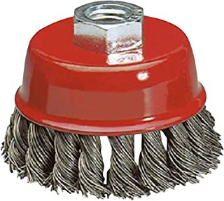 Katzco Wire Wheel Brush Cup - 4 Inches Heavy Duty and Durable Knotted Grinder Brush – for Rust, Corrosion and Paint Removal