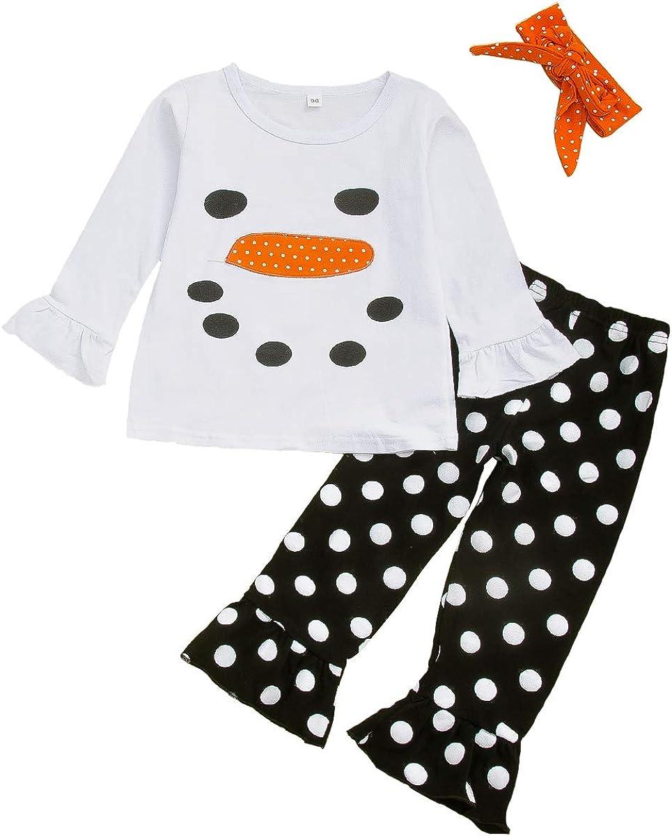 Babay Girl Xmas Party Dress Ruffle Sleeves Snowman Pattern Top Black Spot Suspender Skirt Clothes Set