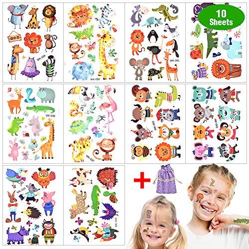 Tatuaże tymczasowe dla dzieci, zwierzę, brokat, zestaw wodoodpornych tatuaży dziecięcych, naklejki, szablony dla dziewcząt, chłopców, na festiwal, jako upominek na urodziny dziecka, prezenty dla gości, torebki (10 arkuszy)