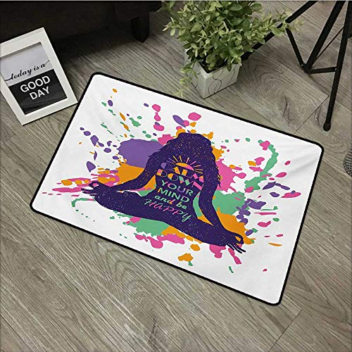 Children's mat W35 x L47 INCH Modern,Yoga Posing Girl with Motivational Happy Quote Calm Down Your Mind Themed Image,Multicolor with Non-Slip Backing Door Mat Carpet