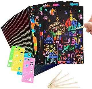 LTHTX Ensemble de 50 Feuilles de Papier à gratter pour Enfants, Planches de Peinture Arc-en-Ciel Magique Noir avec 5 Style...