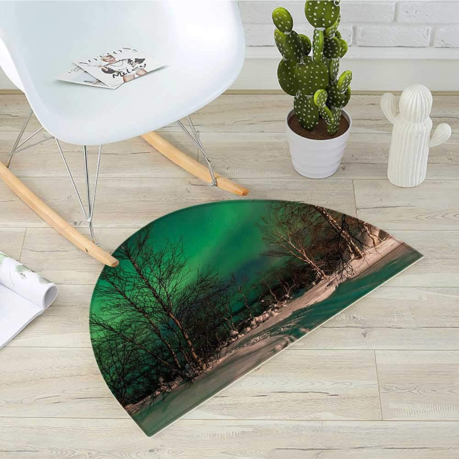 Northern Lights Half Round Door mats Snowy Frozen Road Path Between Leafless Trees Finland Park Bathroom Mat H 39.3  xD 59  Jade Green Brown White