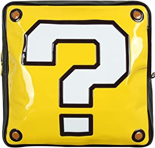 Nintendo Super Mario Bros. Mochila con forma de caja de preguntas, color negro (Bp990402Ntn), mochila informal, 37 cm, 10 L, amarillo