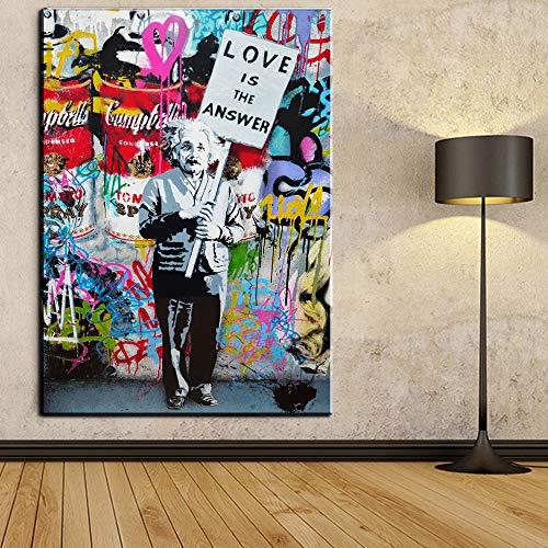 Orlco Art Graffiti Künstlerleinwand Gemälde Einstein Kunst Druck Straßenkunst Urbane Malerei Kunst Farbenfroh, canvas, Einstein, 40