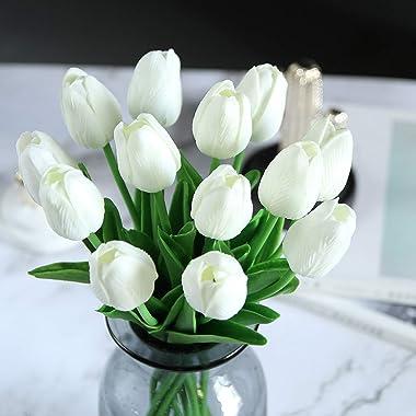 Darkduke 20PC Artificial Flowers, Tulip Artificial Flower Room Flower Arrangement Decoration, Rustic Farmhouse Decoration for