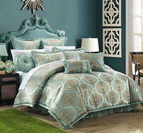 Chic Home CS4630-AN 9 Piece Como Decorator Upholstery Quality Jacquard Motif Fabric Bedroom Comforter Set & Pillows Ensemble, King, Blue