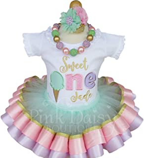 Sweet One First Birthday Tutu Outfit in Pink Mint Lavender and Gold with Personalized Shirt and Tutu