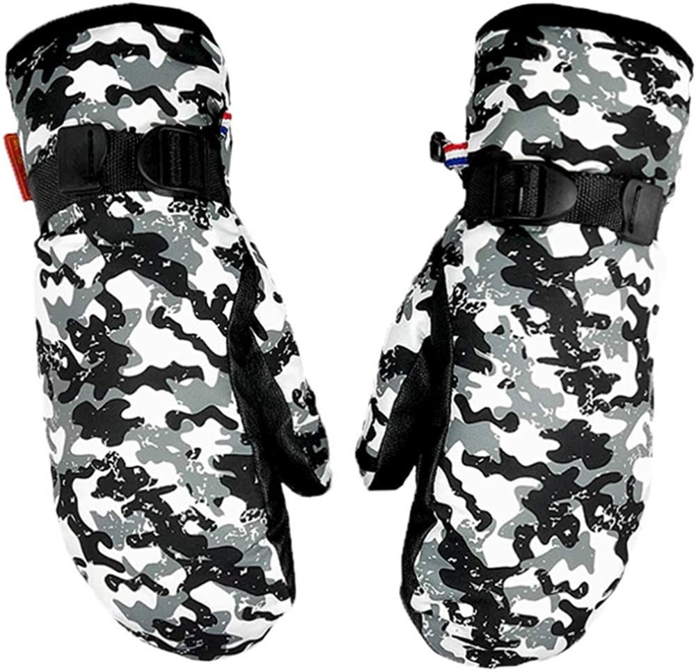 Down gloves Men's and Women's Winter Warm Mittens Warm Adult Snow Mitts for Cold Weather (Camouflage, XL)