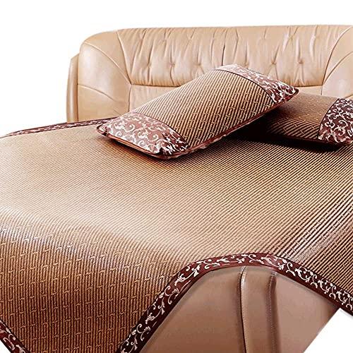 Estera de bambú Estera para dormir de verano Estera de seda de ratán de ratán con funda de almohada, salón de verano con aire acondicionado plegable, estera de paja con estera de doble cama doble, est