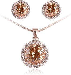 FAIRY COUPLE Women's Wedding Bridal Engagement Jewelry Set Necklace Pendant with Chain Brilliant Cubic Zirconia Elements M...