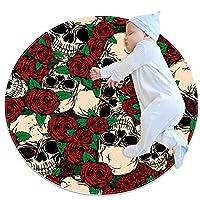 寝室用エリアラグ、キッズベビールーム用の な柔らかくて厚い滑り止めカーペット、保育園のモダンな装飾ラグ2.3フィート、花の頭蓋骨レッドローズヴィンテージ