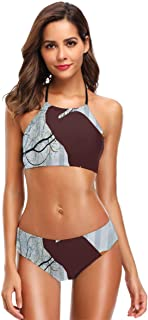 K0k2t0 Women's Printing High Neck Halter Two Piece Bikini Swimsuits,Heron Silhouette Standing On Tall Grass with Circles and Vertical Stripes Background