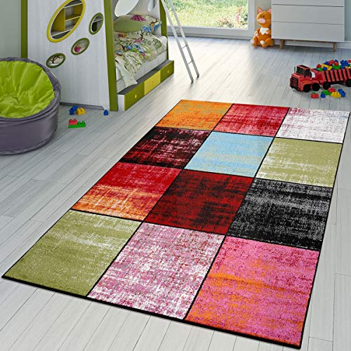 T&T Design Teppich Karo Rot Schwarz Grau Grün Pink Meliert Modern Wohnzimmer Kinderzimmer,...