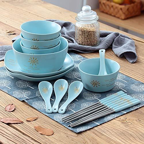 Jian E-& Japanse Huishoudelijke servies servies met eetstokjes kom lepel speelgoed rijstkom kleine soepkom Salade kom Fruit kom pap kom -3 kleuren Blauw