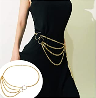 Bohemian Retro Style Multilayer Alloy Waist Chain Body Chain for Women Sun Pendant Belly Chain Waist Chain Beach Jewelry
