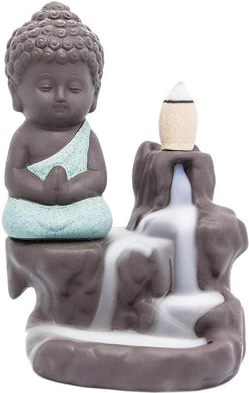 好ましいラショナル確保するLightingsky 逆流式香炉 お香ホルダー セラミック磁器製 仏陀 モンク タワー コーン スティックホルダー グリーン