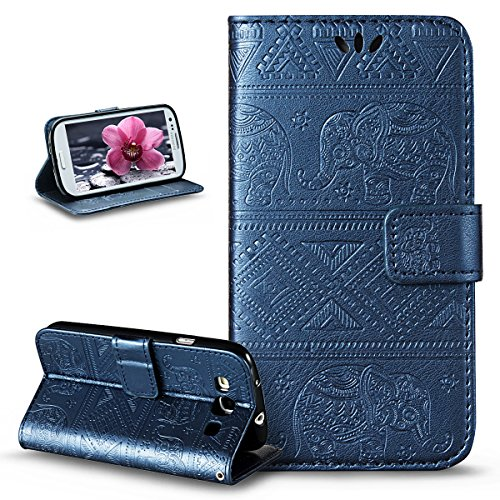 Compatible avec Coque Galaxy S3/S3 Neo Etui,Embosser Gaufrage Éléphant tribal Housse Cuir PU Housse Etui Coque Portefeuille supporter Flip Case Etui Housse Coque pour Galaxy S3/S3 Neo,Bleu marin