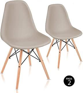 Mc Haus Sena Beige X2 Pack de Sillas de Comedor de Diseño Nórdico, Haya y Polipropileno, 51X46X82 Cm, 2 Unidades